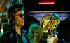 DOCTOR WHO - THE GIRL IN THE FIREPLACE - The drunk Doctor (David Tennant) and a droid