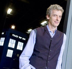Peter Capaldi with the TARDIS on Day One of SERIES 8